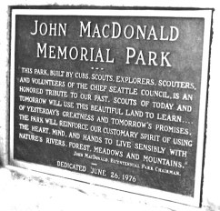 Memorial monument, Tolt River - John MacDonald Park. Series 467, Park System Photograph Files,, Box 6, Folder 25, King County Archives.