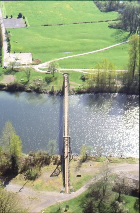 Aerial of the completed bridge, 1976. Series 467, Park System Photograph Files, Box 6, Folder 25, King County Archives.