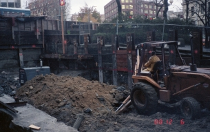 Pioneer Square Station construction (Dec 9, 1988)