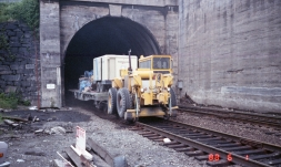 South Portal BNRR Tunnel: Colbeck Sandblast train (Jun 1, 1988)