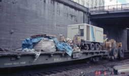 South Portal BNRR Tunnel: Colbeck flatcar with compressor sandblaster (Jun 1, 1988)