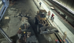 University Street Station construction (Mar 15, 1990)