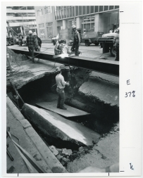 Sinkhole, 3rd Ave and Spring St (Oct 1987)